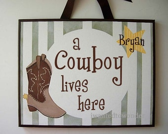 Cowboy Boot and Star ...Wall Art Canvas Painting . 11x14 Boys Kids Room .Name Personalized ... Painted and READY To SHIP