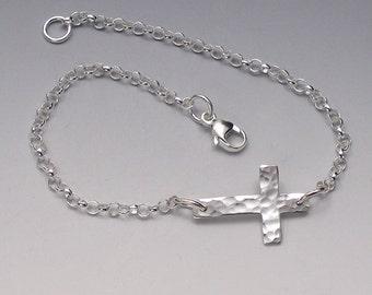Silver Sideways Cross Bracelet, Hammered Cross