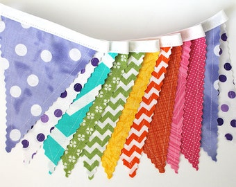 Soft Rainbow colors Bunting party decoration. Fabric sewn flag Banner. Photo prop. 12 Pennant flags