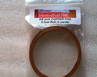 9 feet of 3/8 inch Wide Foil - Adhesive Back Copper Foil TAPE for Memory glass Pendants and Solder Art (((mini 3 yard roll )))