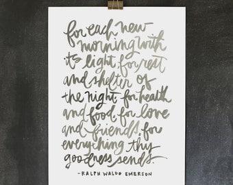18x24 poster / ralph waldo emerson thankful print