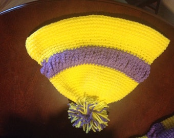Yellow and Purple Brimmed Beanie