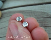 Silver Nugget Post Earrings Tiny Flower Post Earrings