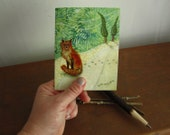 Sitting Fox, illustrated blank card, rustic winter snow, glossy finish
