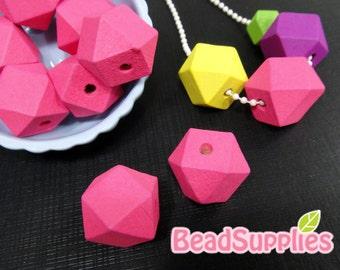 BE-WO-01014 - Geometric wood beads, neon pink, 10 pcs