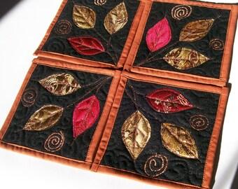 Coaste, Set of 4, Fall Leaves, Fiber Art, Surface Design, Quiltsy Handmade