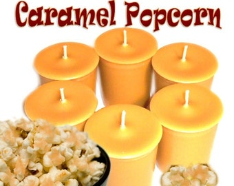 6 Caramel Popcorn Votive Candles Salty Sweet Scent