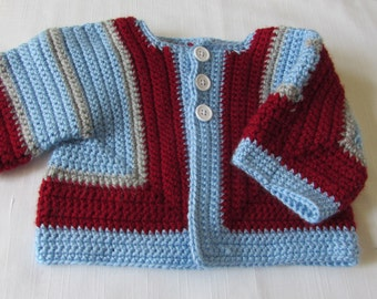 Crochet Toddler Sweater Jacket Size 12 Months to 24 Months Scarlet and Light Blue