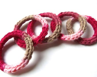 Cat and Ferret Toys, Recycled Rings Toy, Rose Red Pink Tan, Gift for Cats and Ferrets