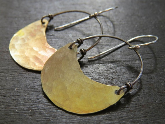 Medium Brass Crescent Earrings