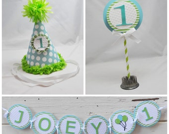1st Birthday Boy Smash Cake Photo Props- Green and Aqua- Set of 3