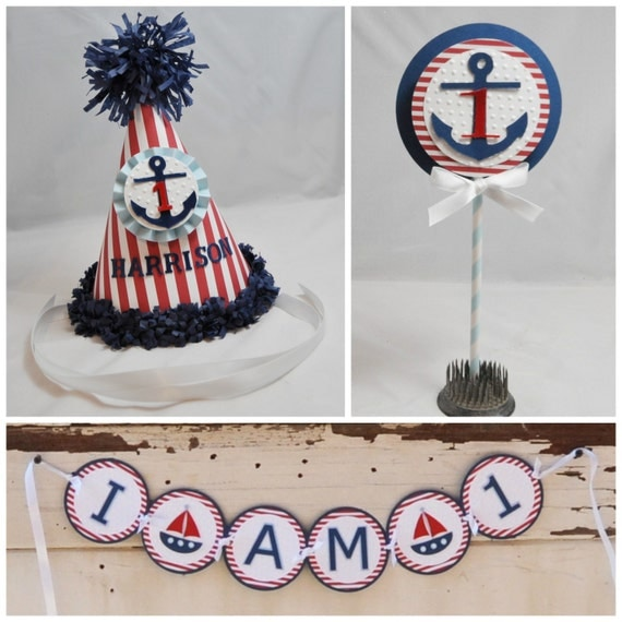 Boy Nautical Smash Cake Photo Props Set Of 3 1st Birthday