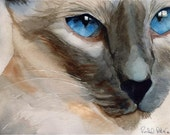 Siamese cat Seal Chocolate Point art Print of my watercolor painting Cerulean