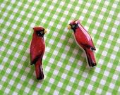 Red Bird Post Earrings