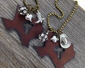 I Love TEXAS Necklace - Cross Cutout -  Rustic Recycled Metal State Shape Cowboy Boot Hat Pickup Truck Charm