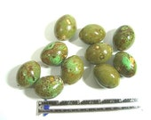Big Oval Glazed Rustic  Ceramic Beads - Green, Brown - 11 Pieces - Macrame, Knobs, Repurpose