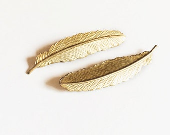 gold feather hair pins