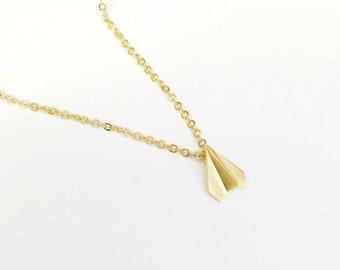 gold paper plane necklace