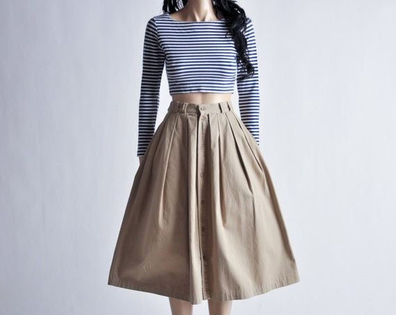 High Waisted Khaki Skirt