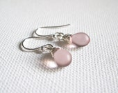 Light Amethyst Glass Tear Drop & Sterling Silver Earrings - UK Seller