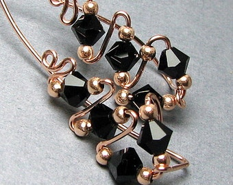 14k Gold Rose Gold Ear Sweeps or 14k Yellow Gold Fill Customize Swarovski Crystal Ear Climbers Ear Vines
