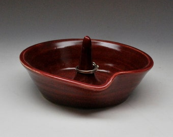Ceramic Burgundy Ring Holder Wheel Thrown Pottery