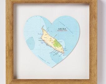 Aruba Map Heart Print - framed
