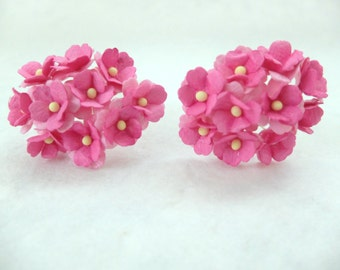 20 15mm pink mulberry paper hydrangea - pink paper flowers
