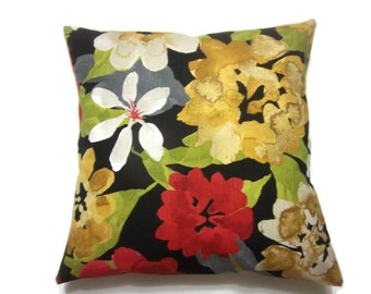 Decorative Pillow Cover Multicolored Floral Red Gold Black White Green Same Fabric Front/Back 18x18 inch Toss Throw Accent Cover  x