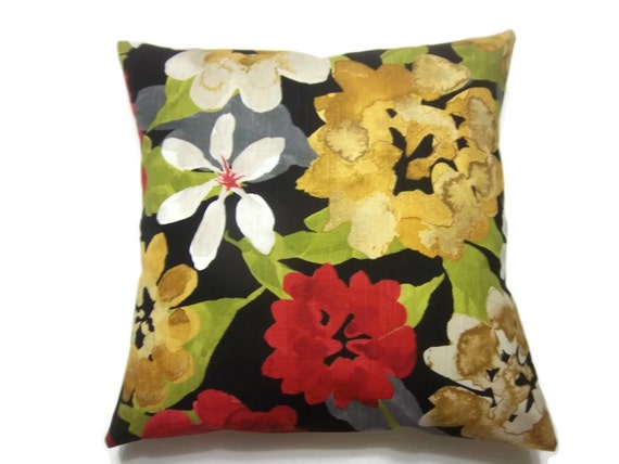 Red Gold Decorative Pillows : Decorative Pillow Cover Multicolored Floral Red Gold Black