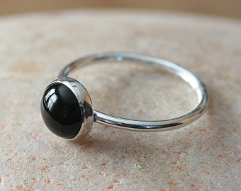 Round Black Onyx Stacking Ring 8 mm in Sterling Silver, Gemstone Ring, Size 2 to 15, Stacker Ring, Solitaire Ring, Womens Ring, Gift for Her