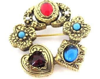 Vintage 50s Ornate Rhinestone Turquoise Pearl Pin Brooch
