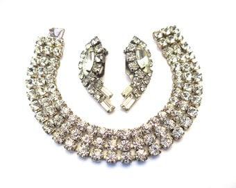 Vintage 50s Rhinestone Bracelet and Earrings