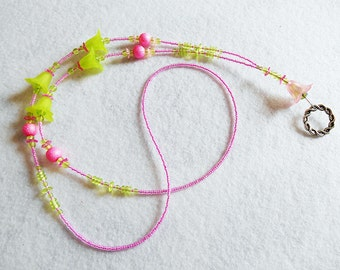 In Bloom - beaded badge lanyard - pink and green glass beaded ID badge lanyard necklace for teacher nurse gift