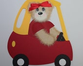 Custom Order for mulchlady Girl Tear Bear Car Little Tikes Cozy Coupe Paper Piecing
