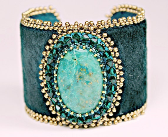 Bead embroidered turquoise emerald suede leather cuff