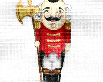 """Handpainted needlepoint canvas 6"""" Red Royal Nutcracker on 18ct."""
