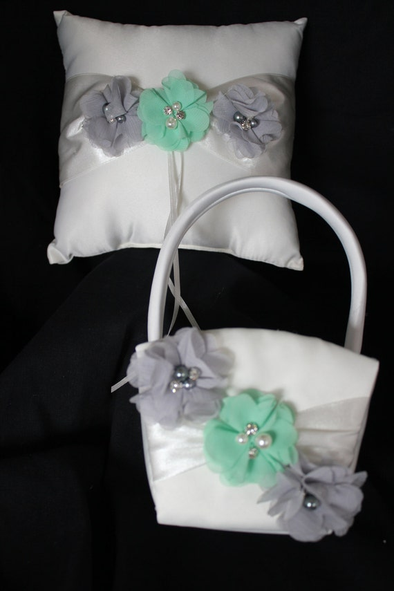 Ivory Ring Bearer Pillow/Flower Girl Basket -Gray and Mint Chiffon Flowers Accented with Rhinestone and Pearls- Custom Colors Available