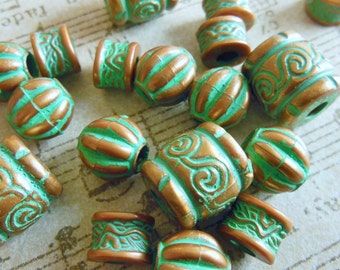 Vintage lucite beads (16) antique copper bronze carved turquoise verdigris rounds tube Sampler mix  8mm 12mm (16)
