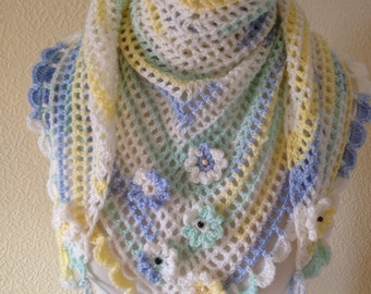 CROCHET SHAWL/WRAP/Crochet Festival Scarf Road Trip Scarf Ladies Neckwear Wrapping Wrap Stole-Ready to Ship