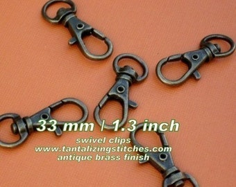 40 Pieces Lobster Swivel Clasps - 1.3 INCH - 34 mm (available in antique brass, copper, and antique copper finish)