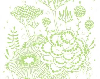 Silkscreened Print - Rain - 5x7 in Pink, Green or Blue