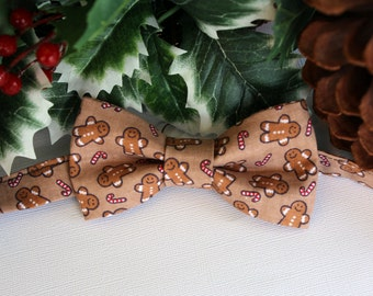 Mens Christmas Bow Tie - Gingerbread Men Candy Canes Cotton Bowtie - Pretied, Adjustable Bow Tie - bowties for men, teens, holiday bow tie