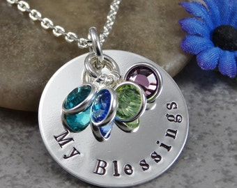 Ready to Ship - Hand Stamped Jewelry - Personalized Jewelry - Mom Necklace - My Blessings - Sterling Silver Necklace - Four Birthstones