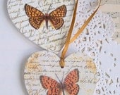 Butterfly & text wood heart wedding decoration / favor decoupage rustic set of 2