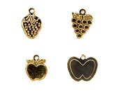 Vintage Gold Plated Fruit Medley Charms - grapes - apples - strawberries - peaches (V190)