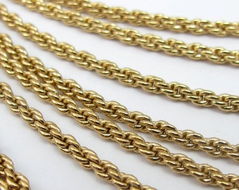 Vintage Gold Plated Rope Chain Necklace Findings -no clasp (1X) (30 inches) (C572)