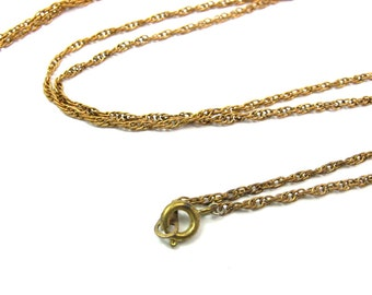 LOW Stock - Vintage Yellow / Orange Brass Rope Chain Necklaces - 30 inches (4X) (C650)
