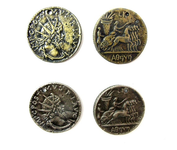 Vintage Antiqued Brass & Silver Plated Pewter Ancient Greek/Roman Chariot Racer Coin Charms (4X) (V167)