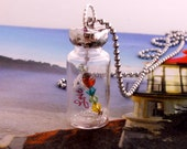 "Firefly Vial  Necklace Message in a Bottle ""LOVE"""
